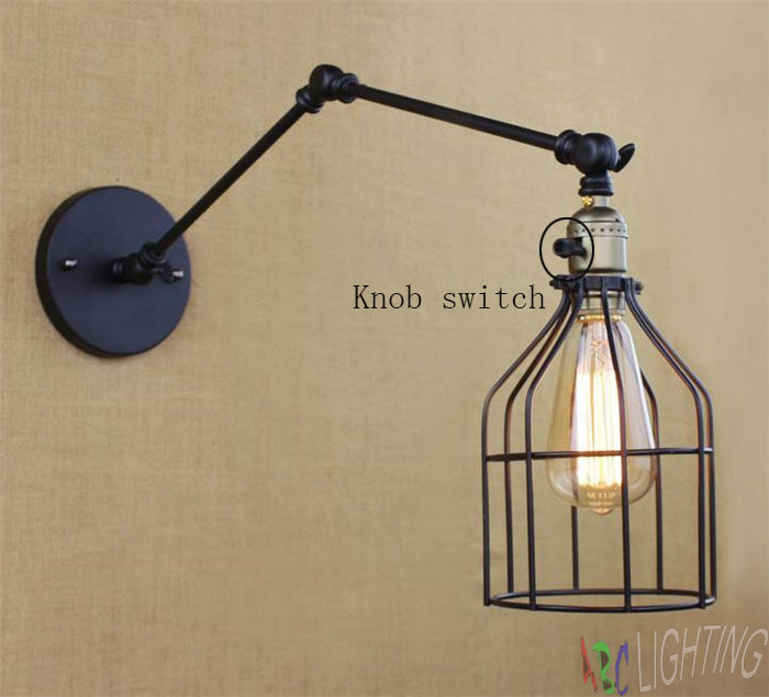 Simple Retro Industrial Two-section Swing arm Metal Wall lamp Fixture America Europe Style Traditional cage shade wall sconces loft retro industrial two section swing arm metal wall lamp fixture wandlamp industrieel lampara de pared espejos bano