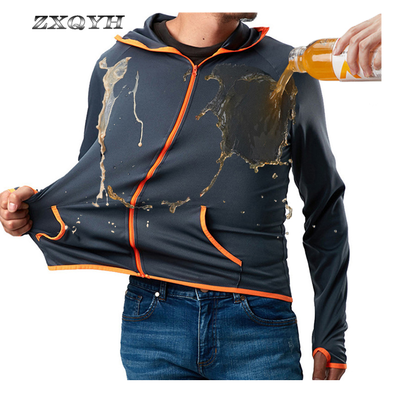 ZXQYH Outdoor Hydrophobic Fishing Jackets Waterproof Quick Dry Men Hooded Jackets Hiking Camping Sport Clothing Trekking Jackets