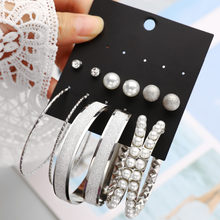 New Style Rhinestone Stud Earring Set For Women Hot-selling Cute Mixed Imitation Pearl Earring Sets 6 Pairs Gold Silver Earrings(China)