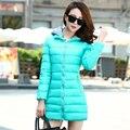 Корейский теплые хлопок пуховик элегантных женщин зимнее пальто чистый цвет с капюшоном большой ярдов толстый тонкий офис женщины пальто G0363
