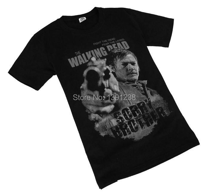a6798b6d2 Free Shipping TV Drama The Walking Dead T shirt Rick Daryl Sorry Brother  Head Portrait Men T shirt S/M/L/XL/2XL/3XL-in T-Shirts from Men's Clothing  on ...