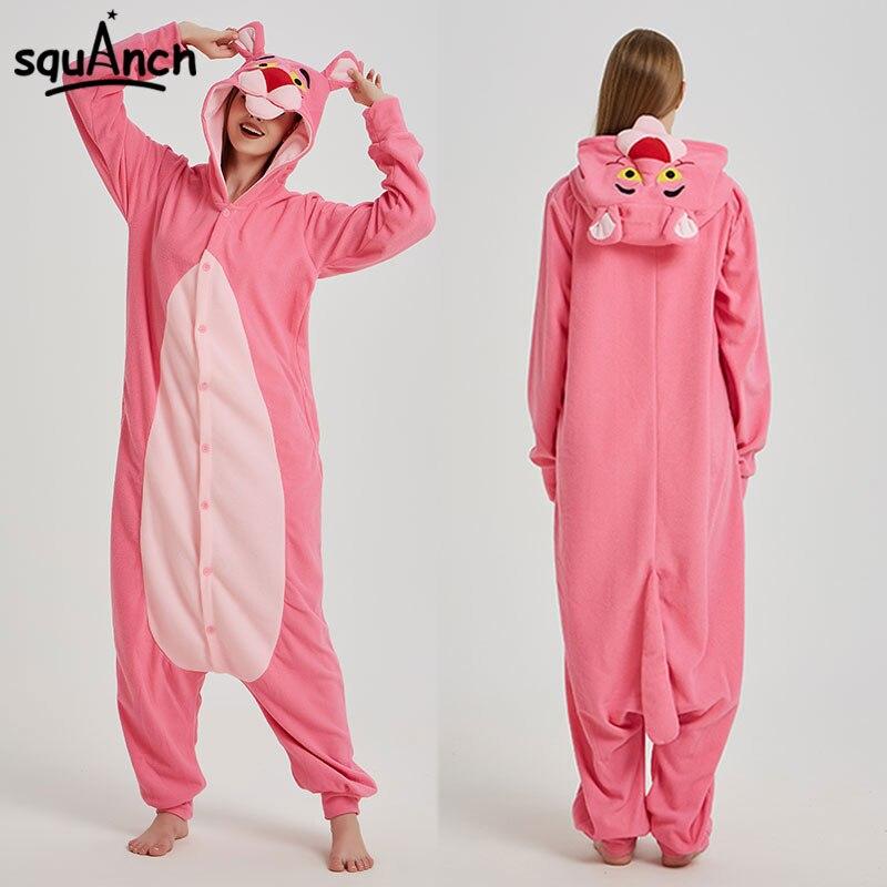 b5449b5cf65d Животные кигуруми женские мужские и взрослые пижамы Забавный милый  комбинезон зимние Мультяшные ползунки пантера медведь енот