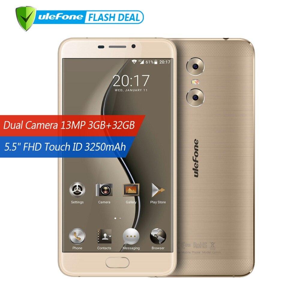 Ulefone Gemini Dual cámaras traseras teléfono móvil 5,5 pulgadas FHD MTK6737T Quad Core Android 6,0 3 GB + 32 GB touch ID 4G Smartphone GPS