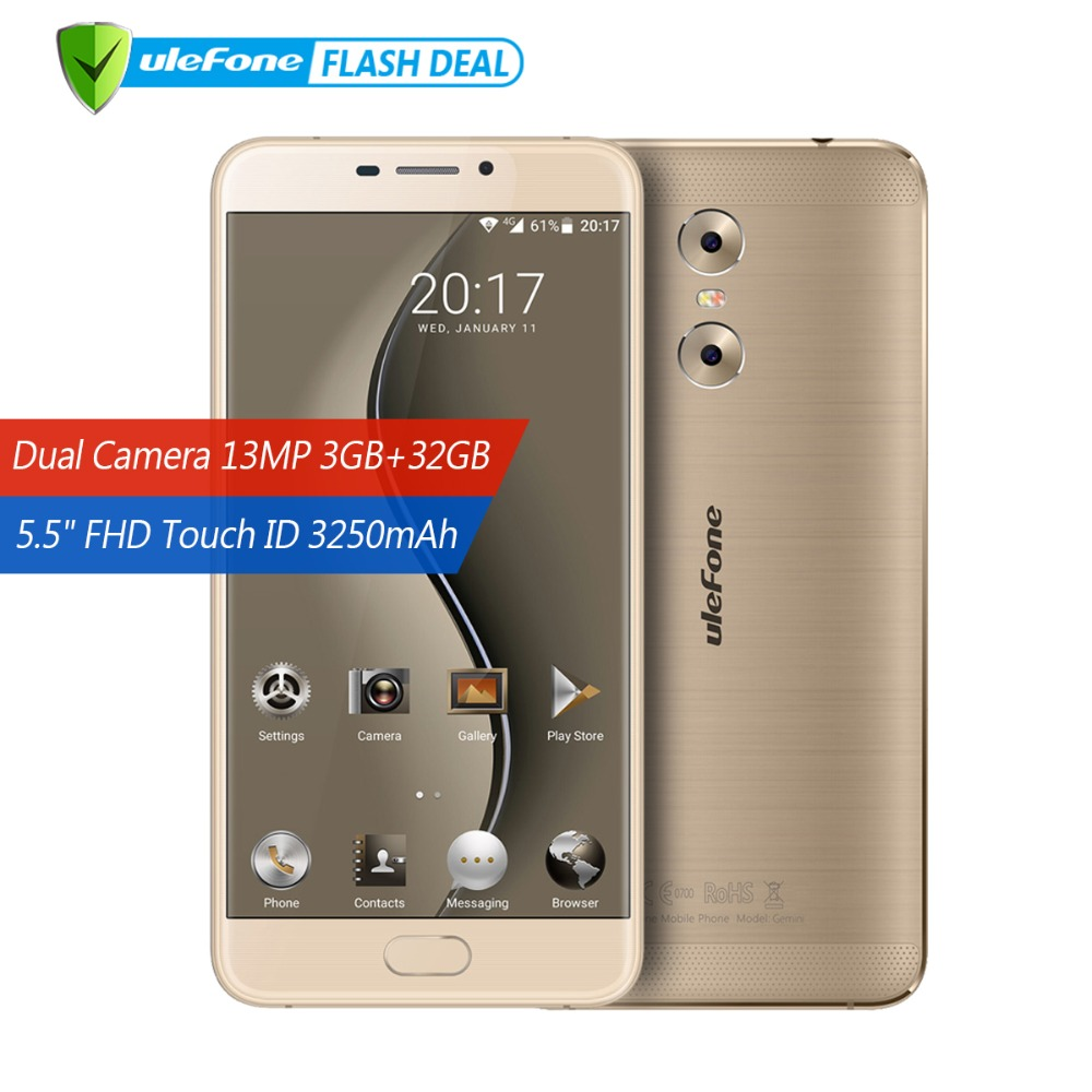 Ulefone Gemini Posteriore Dual Macchine Fotografiche Del Telefono Mobile 5.5 pollice FHD MTK6737T Quad Core Android 6.0 3 gb + 32 gb touch ID 4g Smartphone GPS