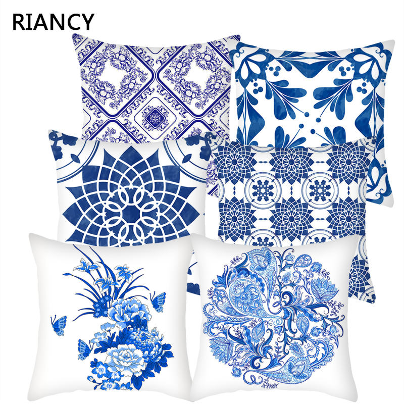 1Pcs Blue Geometric Mandala Pattern Pillow Case Polyester Throw Pillow Home Sofa Bed Car Decoration Cushion Cover 45*45cm 40818