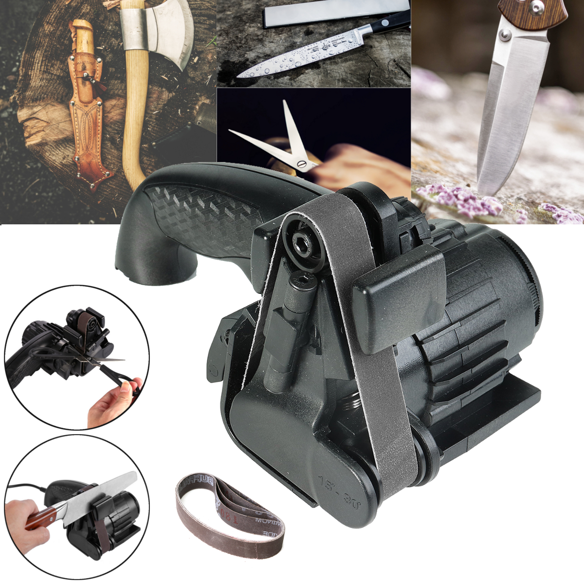 Electric Knife Sharpener Speedy Automatic Self-abrasive Onion Edition Knife Sharpener Knives Sharpening Kitchen Tools Power Tool electric knife tool sharpener ken onion edition flexible abrasive belts variable speed motor multi positioning sharpening module