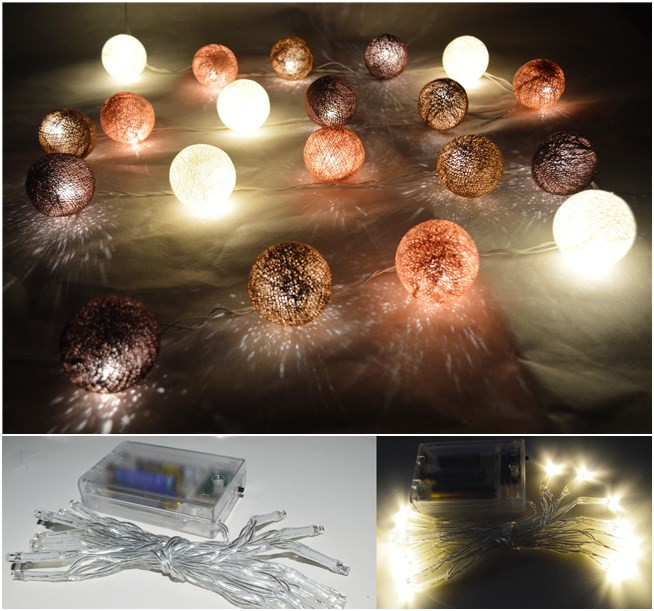 20PCS/SET Earth Brown Tone Cotton Ball Led Battery Powered String Lights  Fairy, Decor