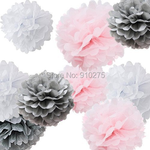 18pcs mixed white pink gray tissue paper pom poms flower ball for 18pcs mixed white pink gray tissue paper pom poms flower ball for weddings birthday baby showers mightylinksfo