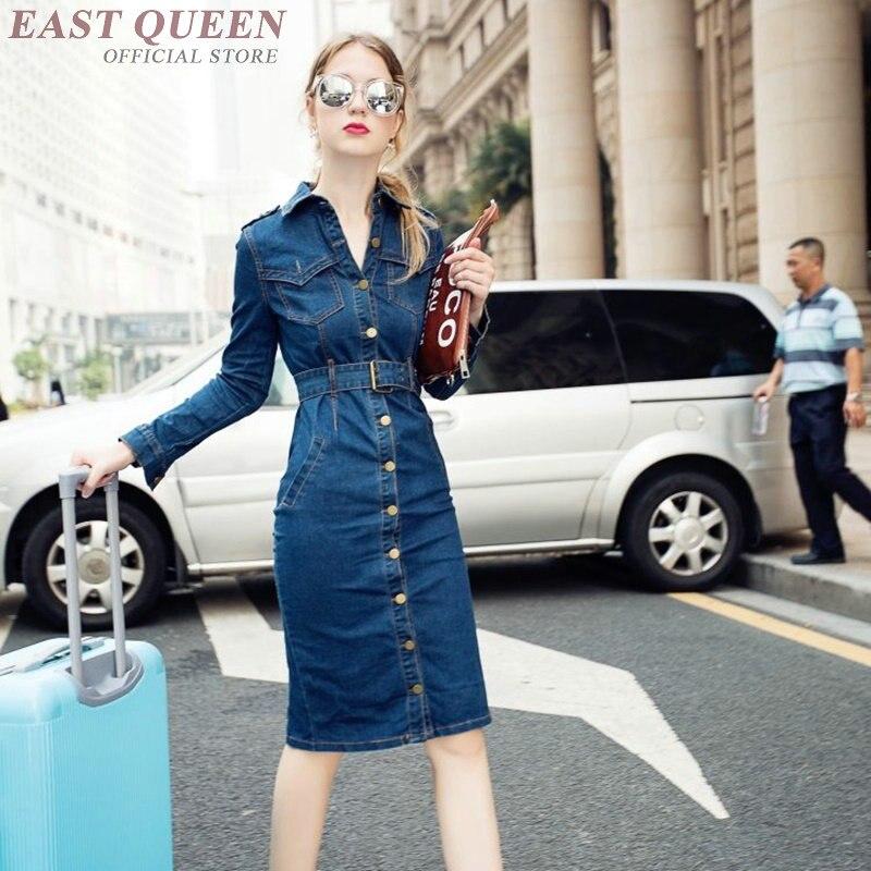 Robe en Denim pour femmes bouton avant robe mi-longue avec ceinture bouton fermeture jeans streetwear tunique moulante robe AA3341