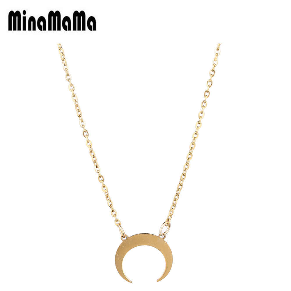 Simple Ox Horn Moon Necklace Stainless Steel Half Moon Charm Pendant Necklace For Women Thin Chain Necklace Fashion Jewelry Gift