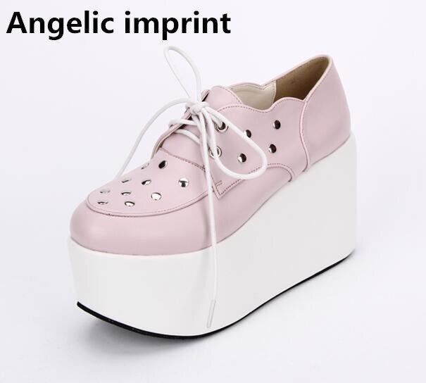 897f5512f1e6ee Impression angélique mori fille lolita chaussures femme cosplay chaussures  dame talons hauts compensées pompes femmes robe de soirée chaussures à  lacets 33 ...