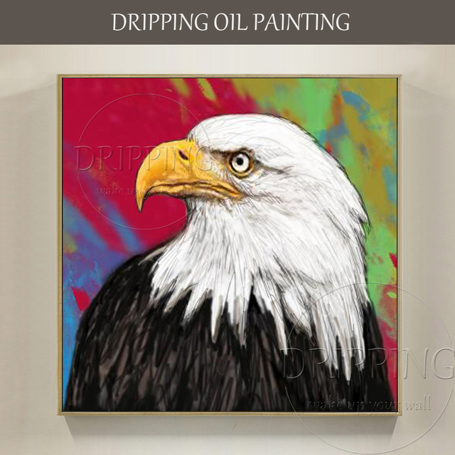 Hand painted High Quality American Bird Bald Eagle Oil Painting ...