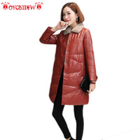 Inverno cuoio genuino delle donne cappotto di spessore femminile capispalla pelle di pecora di alta qualità plus size cappotto di pelle nuovo mid-long soprabito ll847