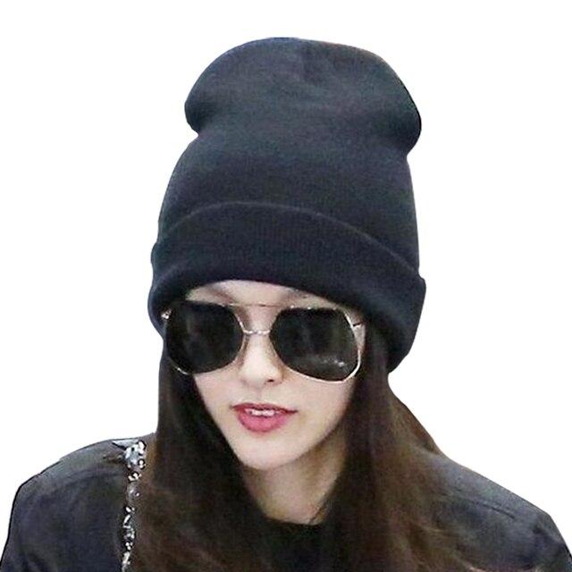 Hot Selling Unisex Women Men Winter Hat Snap Back Muts Knit Hip Hop Beanie  Warm Cap Bonnet femme Solid Color Cheap Z1 0000861ebe3