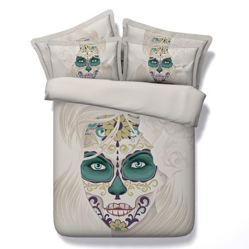 Fashion Personality Skull Series Colorful Flower Duvet Covers 3/4PC Bedding Sets Twin/King/Queen/Super King Size Hot