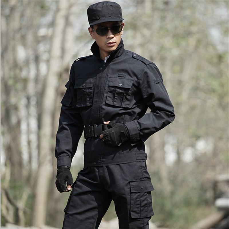 4XL livraison gratuite en dehors de l'armée tactique militaire uniforme vestes de combat + pantalon tactique noir manteaux costumes CS vêtements militaires