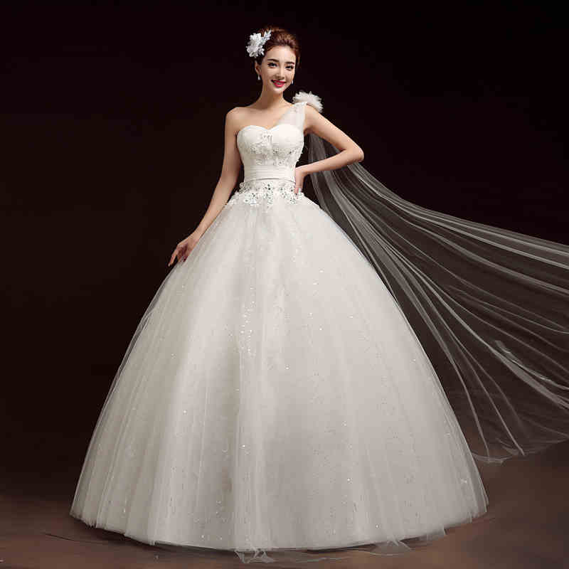 Discount A Line Wedding Dresses New Strapless Flower: 2017 New A Line Flowers Strapless One Shoulder Sleeveless