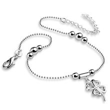 Fashion silver women anklets.Solid 925 silver clovers anklets.Cute girl lucky anklets.Charming lady silver jewelry.