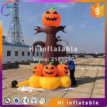 4m high halloween yard decoration inflatable ghost tree with pumpkin