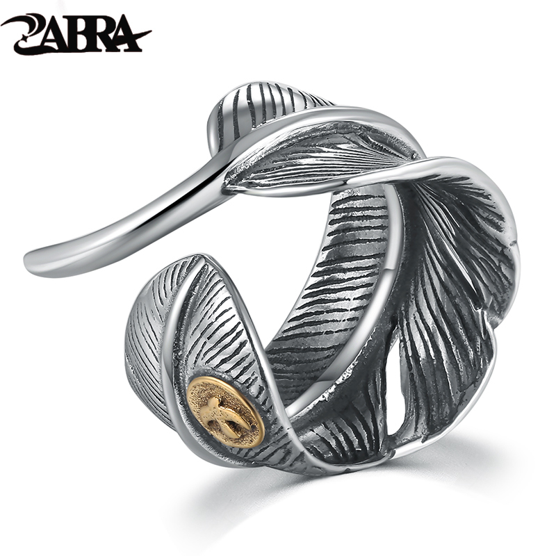 ZABRA Real <font><b>925</b></font> <font><b>Sterling</b></font> <font><b>Silver</b></font> Vintage Feather Black Size Adjustable <font><b>Ring</b></font> <font><b>For</b></font> <font><b>Men</b></font> Women Punk Rock Style Big <font><b>Rings</b></font> <font><b>Silver</b></font> Jewelry image