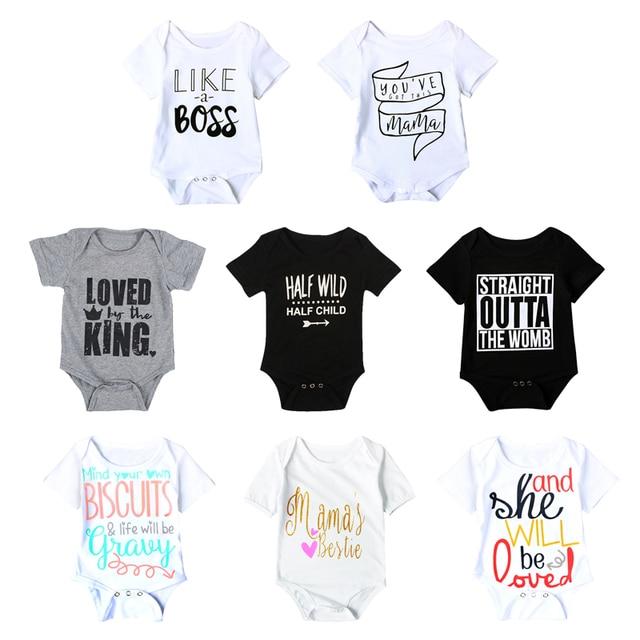 Fashion Summer White Baby Bodysuits 4 24Months Twins Boy Girls Clothes 1st Birthday Gift