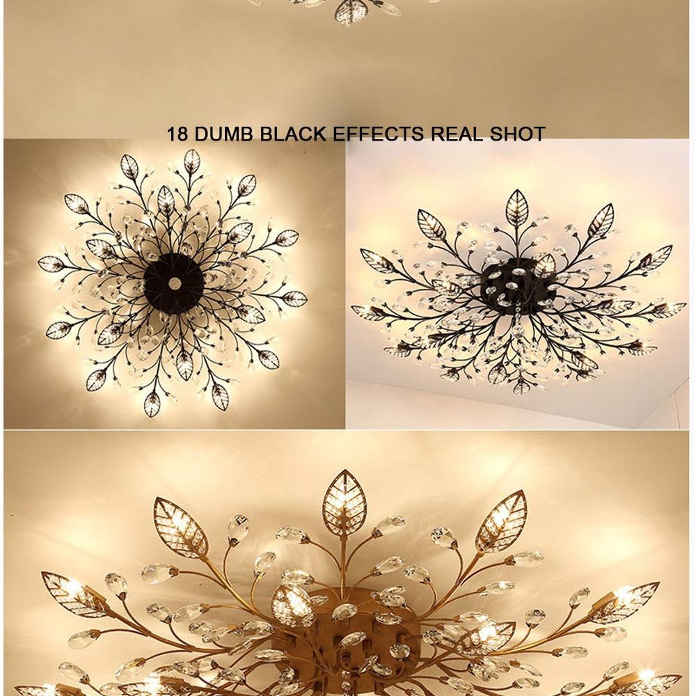 HTB17ZrJeDwKL1JjSZFgq6z6aVXav Modern Flush Mount Home Gold Black LED K9 Crystal Ceiling Chandelier Lights Fixture for Living Room Bedroom Kitchen Lamps