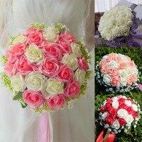 Artificial 24 Pieces Rose Flower Bridal Bouquet Buque Noiva Branco Pink White Bridesmaid Wedding Bouquet De