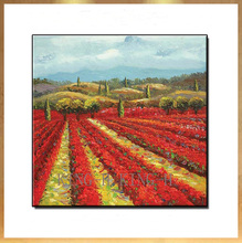 Hand-painted Landscape oil painting scenery pastoral red harvest rural decorators porch sofa hall