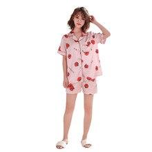 Для женщин моделирование шелк печати пижамы с принтом пижамы ночное комплект летние шифоновое платье 40mi01