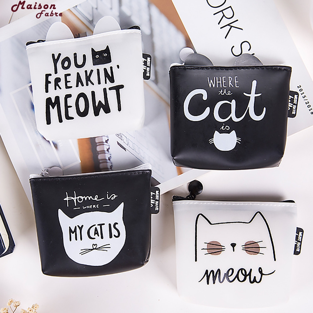 Maison Fabre Cats Coin Purses Cute Women Girls Cute Fashion Snacks Coin Purse Wallet Bag Change Pouch Key Holder 2016women coin purses cute girl mini bag key ring case zipper wallet lovely dollar 3d print pouch change purse wholesalecp4024