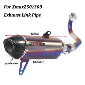 Image 4 - Per Yamaha Xmax250 Xmax300 Completa del Sistema di scarico Moto Fuga Modificato Con Frontale in acciaio inox Metà di Collegamento Tubo di Scivolare su