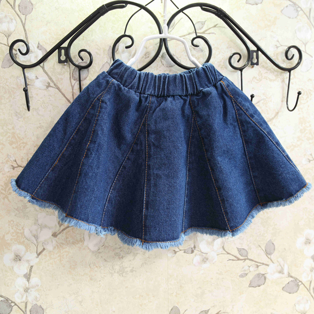 free shipping 2016 summer new baby girls skirts denim skirts tassel style children tutu skirt girl suit 2-7T saia
