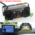 New 2 in 1 Sound Alarm CCD HD Car Reverse Backup LED Rear View Camera Parking Radar System,   Rearview Camera + 2 Sensors