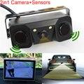 Novo 2 em 1 Alarme Sonoro CCD HD Câmera de Visão Traseira Do Reverso Do Carro LEVOU Estacionamento Sistema de Radar, retrovisor Camera + 2 Sensores