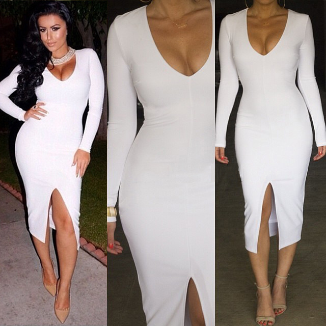 a88b9d26e542 white black long sleeve deep v neck split OL work dress Women Middle Slit  Bodycon Dress ladies sexy nightclub vestidosplus size-in Dresses from  Women s ...