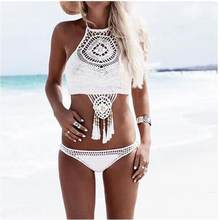 2017 Maternity Bohemian Handmade Knitted Sexy Split Swimsuit Beach Swimsuit Beach Fringed D50(China)