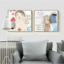 Smiling Caring Little Girl Stick Figure Simple Canvas Painting Pair Photo Hanging Craft Art Wall poster for Beauty salon Decor(China)