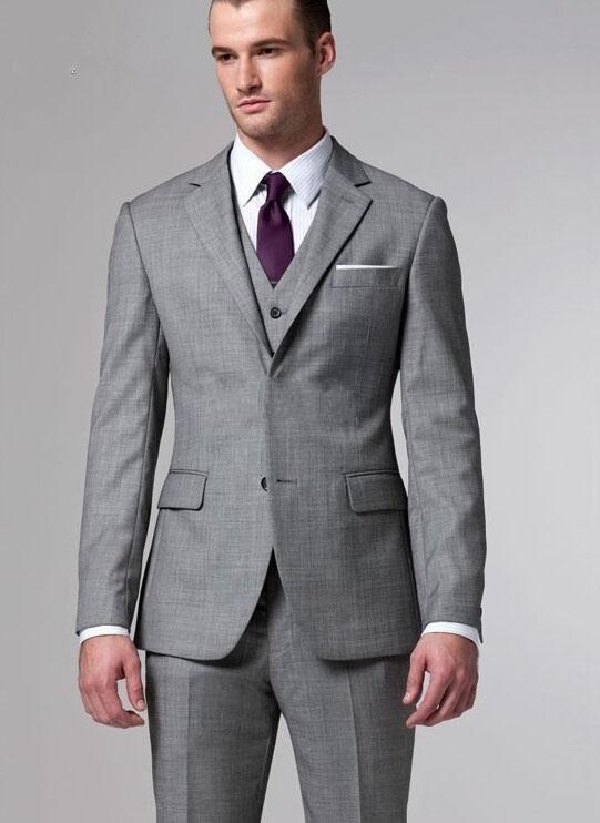 Aliexpress.com Comprar Gris plata esmoquin 2015 hombres calientes venta trajes dos botones de lana trajes de boda del novio smoking traje para para hombre