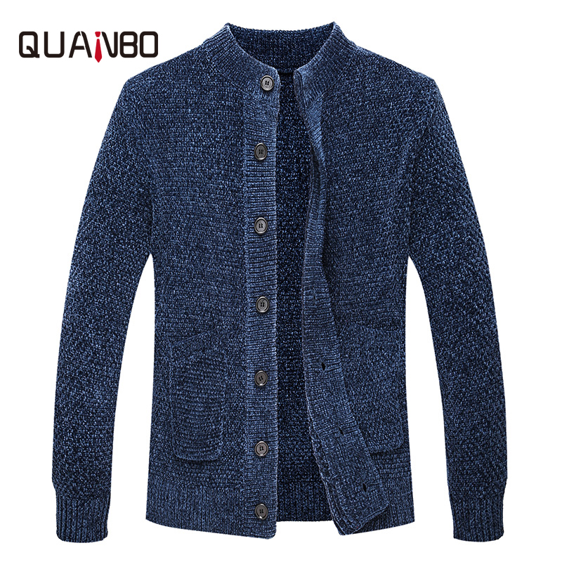 QUANBO 2019 New Arrival Spring Winter Cardigan Men Fashion Casual Sweater Elasticity Slim Fit High Quality Knitted Sweaters