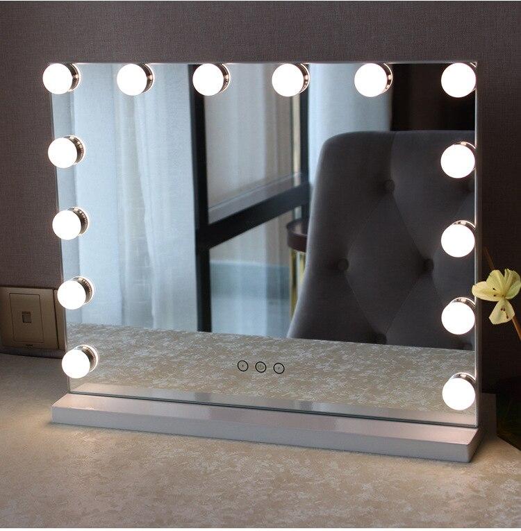 Vendita al dettaglio Senza Cornice Specchio cosmetico con la Luce Hollywood Trucco Illuminato Specchio 3 Luce di colore Specchio Cosmetico Regolabile Touch Screen