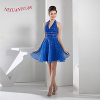 NIXUANYUAN 2017 Elegant Beaded Party Dress Halter Royal Blue Organza Cocktail Dresses 2017 Short A Line vestidos de cocktail