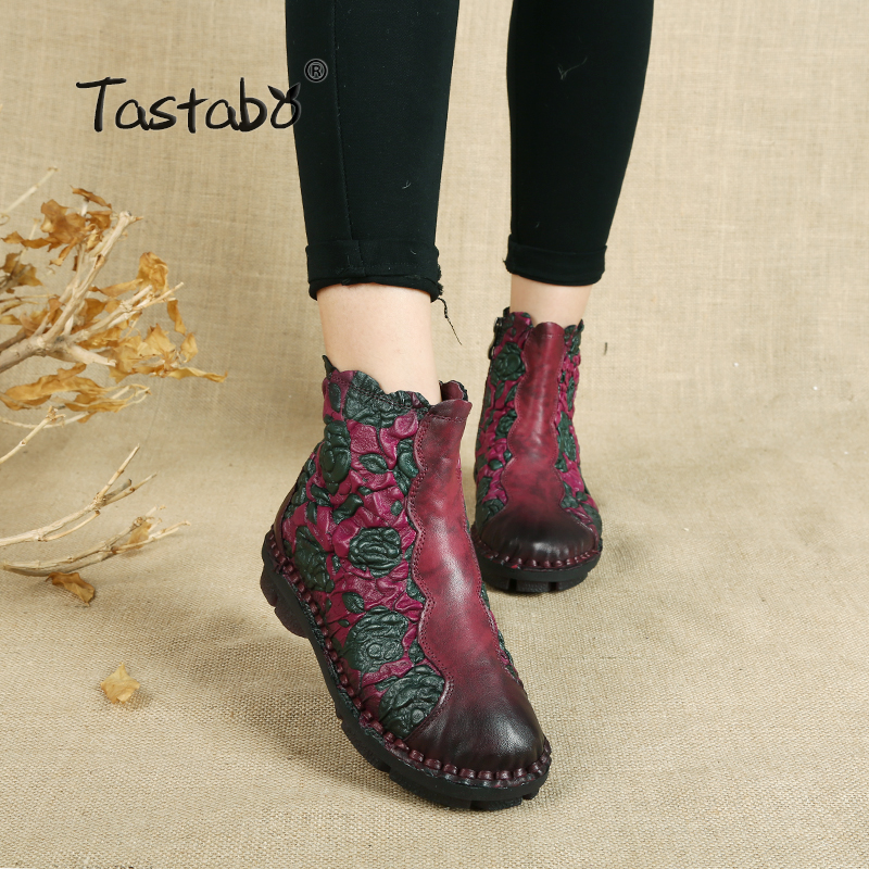 Tastabo Folk Style Martin Boots Genuine Leather Ankle Shoes Vintage Mom Women Shoes Retro Handmade Boots For Women tastabo handmade autumn women genuine leather shoes cowhide loafers real skin shoes folk style ladies flat shoes for mom sapato