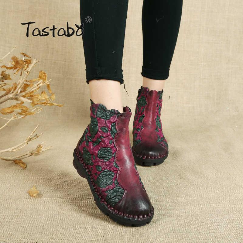 Tastabo Halk Tarzı Martin Çizmeler Hakiki Deri Ayak Bileği Ayakkabı Eski Anne Kadın Ayakkabı Retro El Yapımı Çizmeler Kadınlar Için