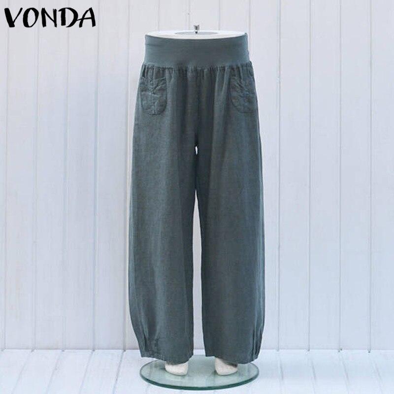 Women Casual Wide Leg Pants 2019 Summer Trousers Female Elastic Waist Cotton Retro Loose Solid Bottoms Plus Size S-5XL Baggy