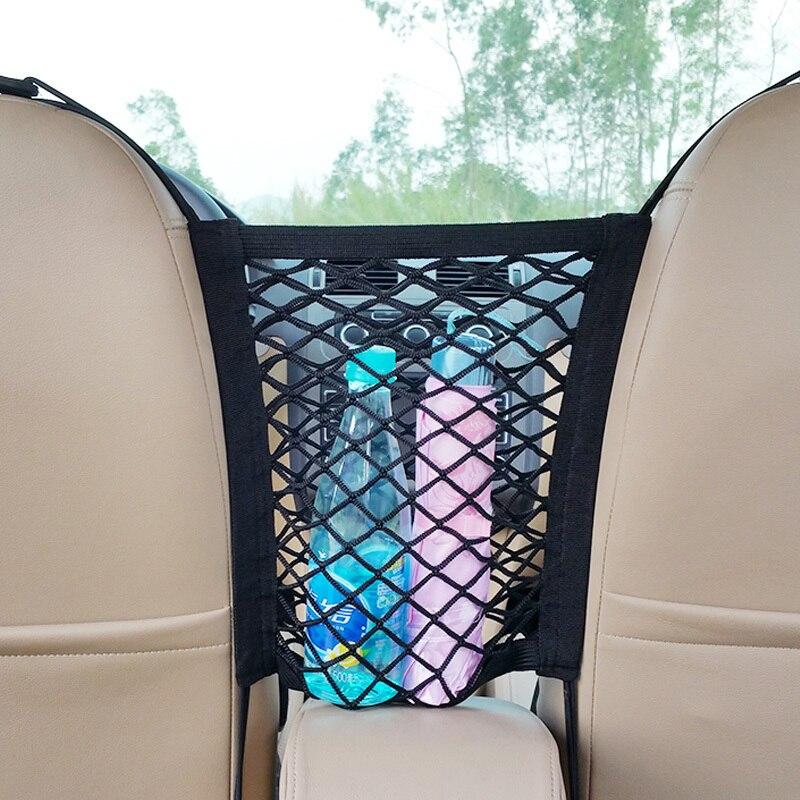 Universal Durable Elastic Mesh Net Trunk Bag Between Car Seat Hanging Type Organizer Storage Luggage Phone Debris Holder Pocket