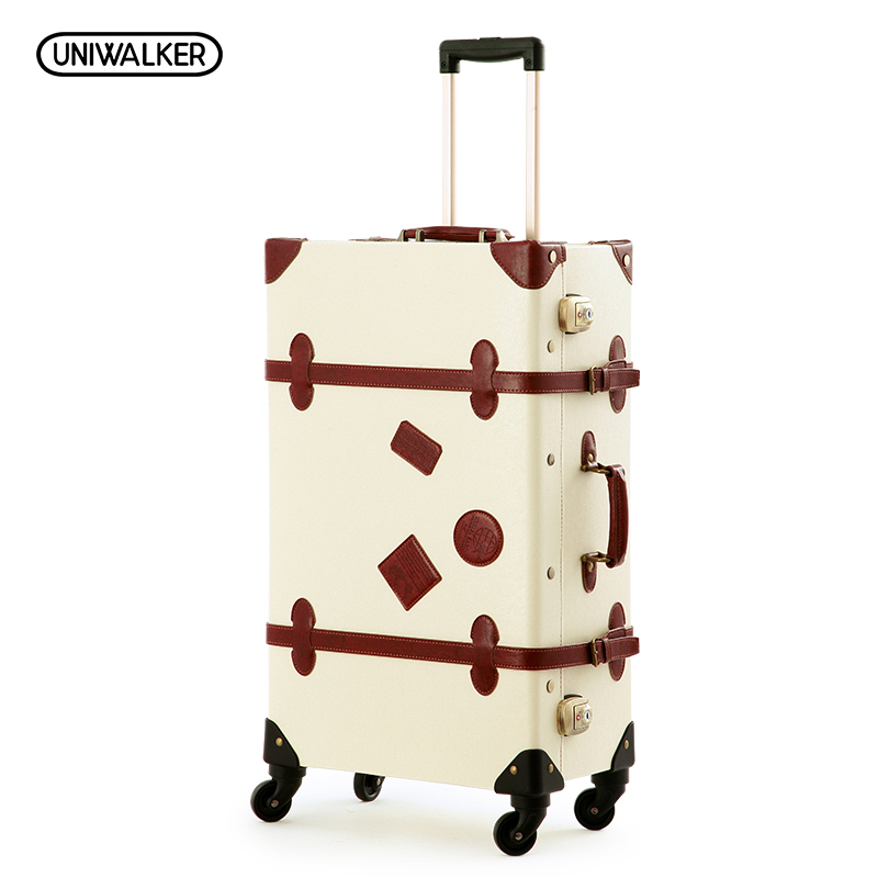 UNIWALKER Vintage Suitcase 20-26 PU Leather Travel Suitcase , Scratch Resistant Rolling Luggage Bags Suitcase With TSA Lock 20 26 red vintage suitcase pu leather travel suitcase scratch resistant rolling luggage bags suitcase with tsa lock