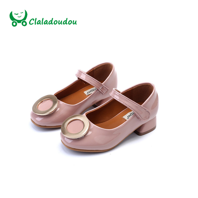 Claladoudou High Quality Girls PU leather Shoes Little Kids Green Cycle Metal Performance Shoes Pink Girls Mary Jane Shoes Brown