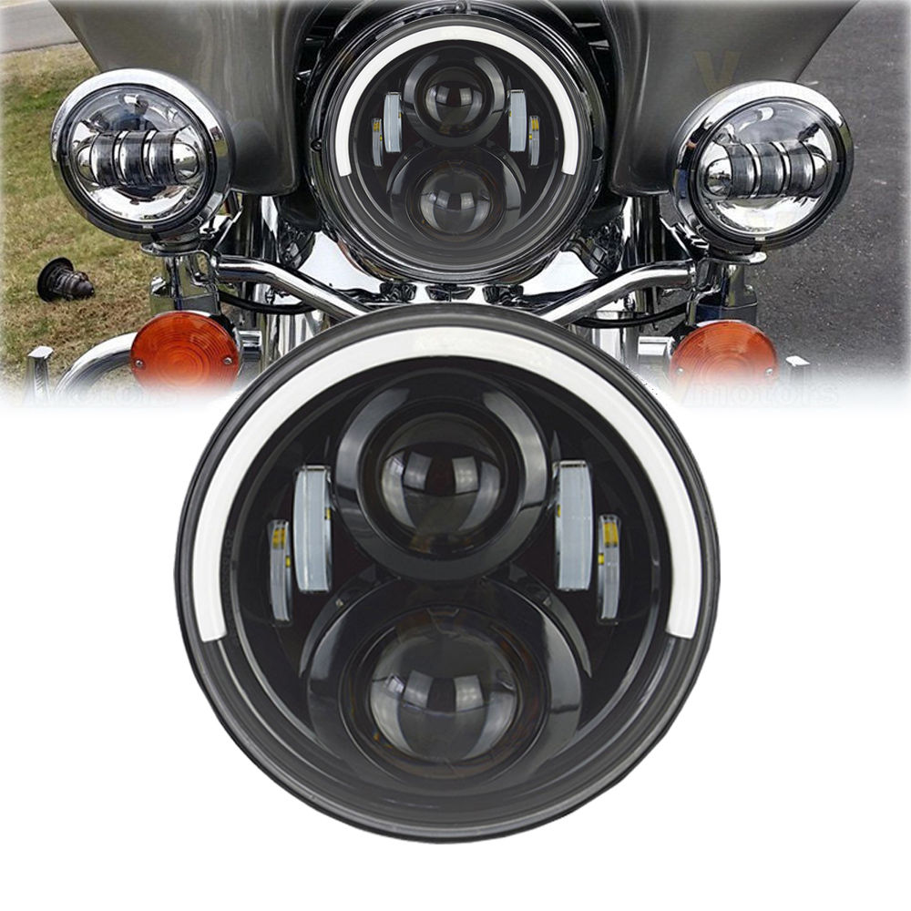 7 Inch LED Headlight Projector Daymaker halo DRL For Harley Touring Electra Glide Softail Deluxe Trike Round Headlights