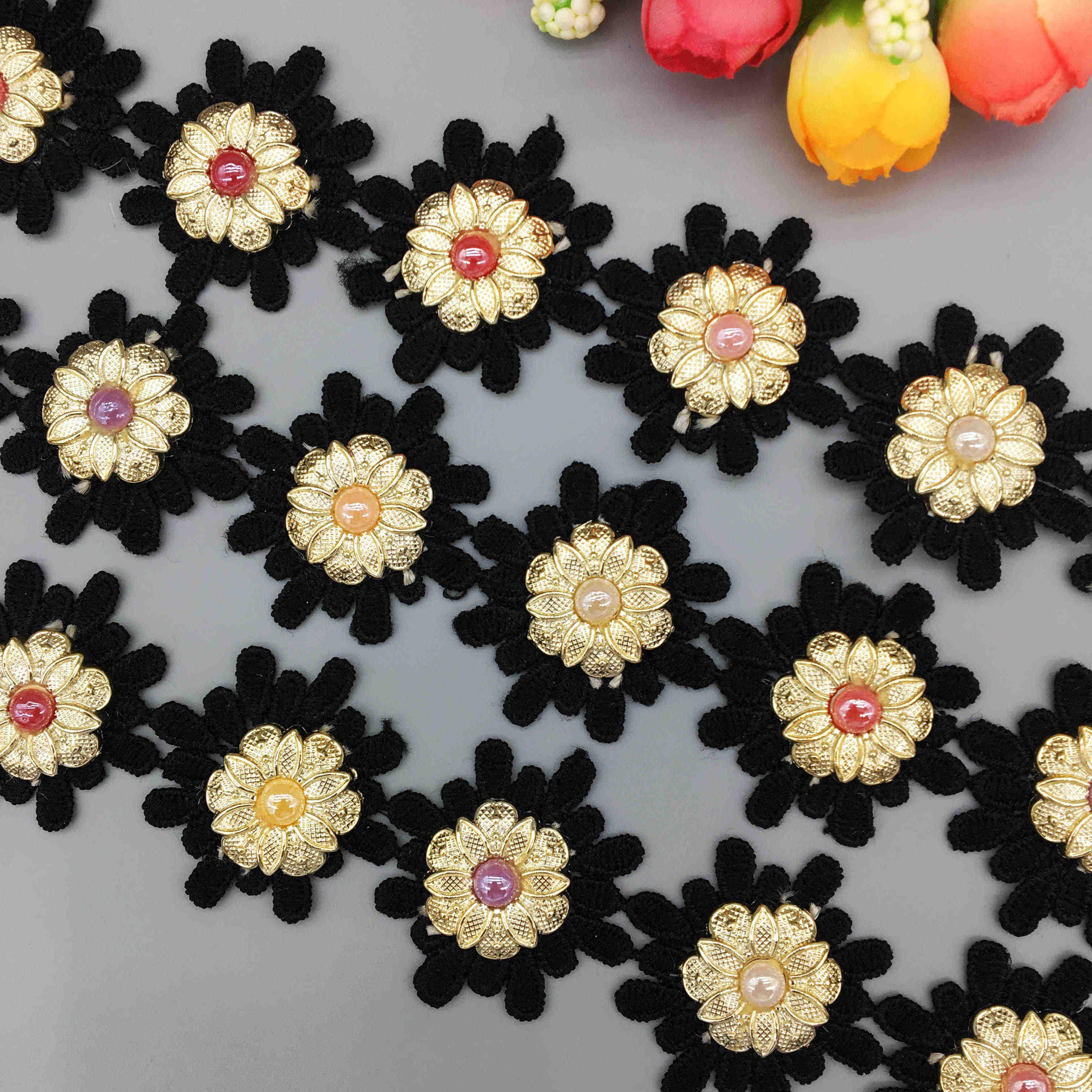 20x Nigeriaanse Stof Zwart Daisy Bloem Strass Kant Trim Lint Geborduurd Vintage Applique DIY Trouwjurk Naaien Craft