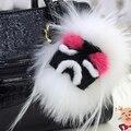 Carteira de couro moda Pom Pom de pele real monstro boneca de pelúcia de golfe charme pingente de acessórios de pelúcia